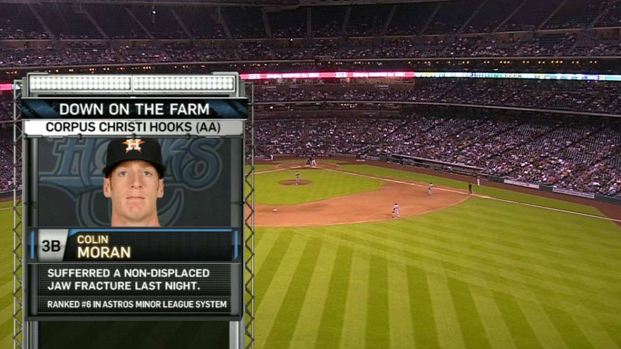 Astros prospect Moran fractures jaw