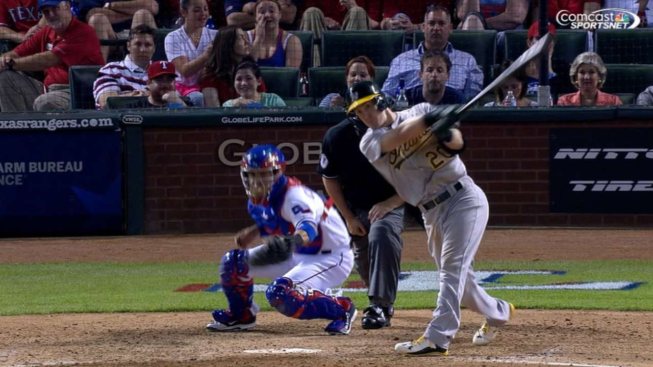 Crazy eighth: A's battle back with 7-run inning