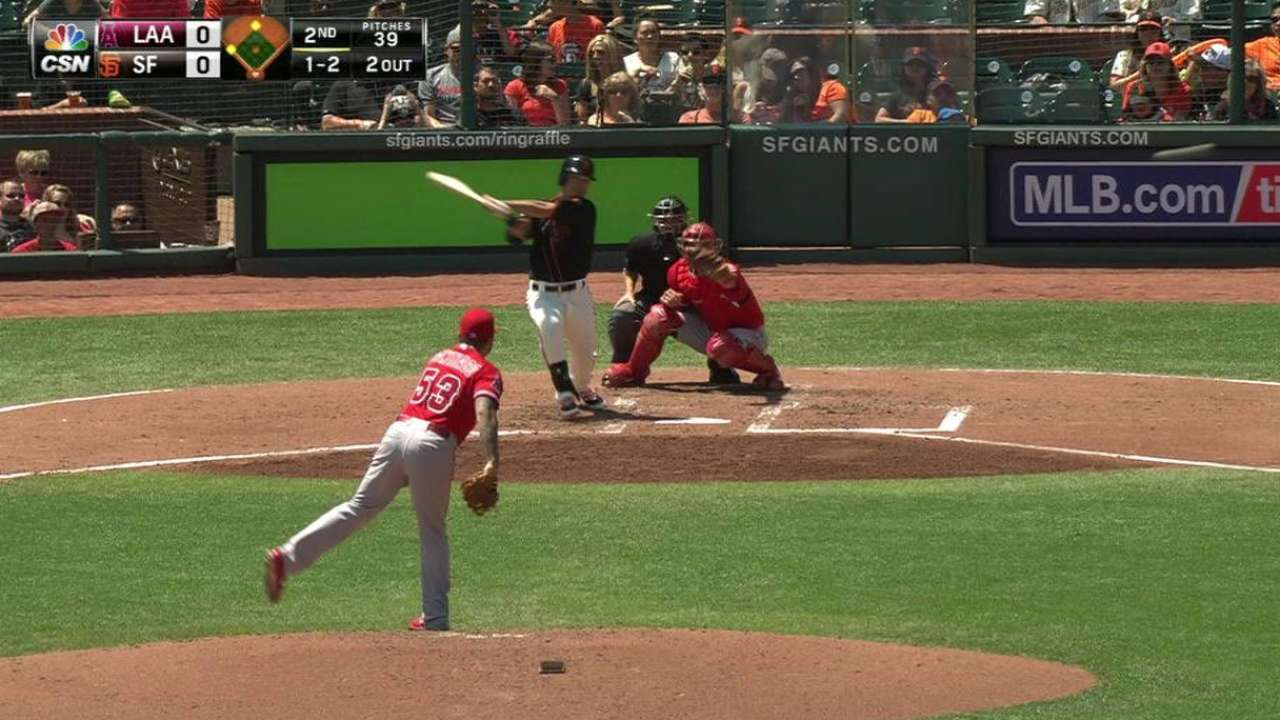 Giants hold off Angels' rally with some luck