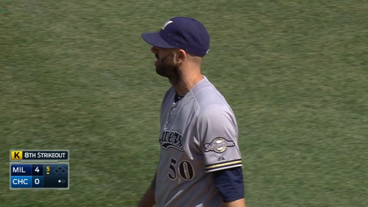 Fiers rewards Brewers' patience with great outing