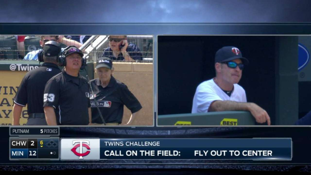 Twins challenge Shuck's catch