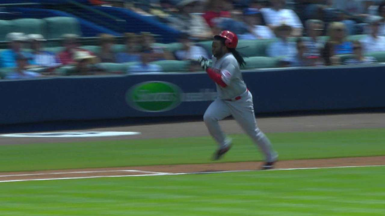 Cueto legs out infield single