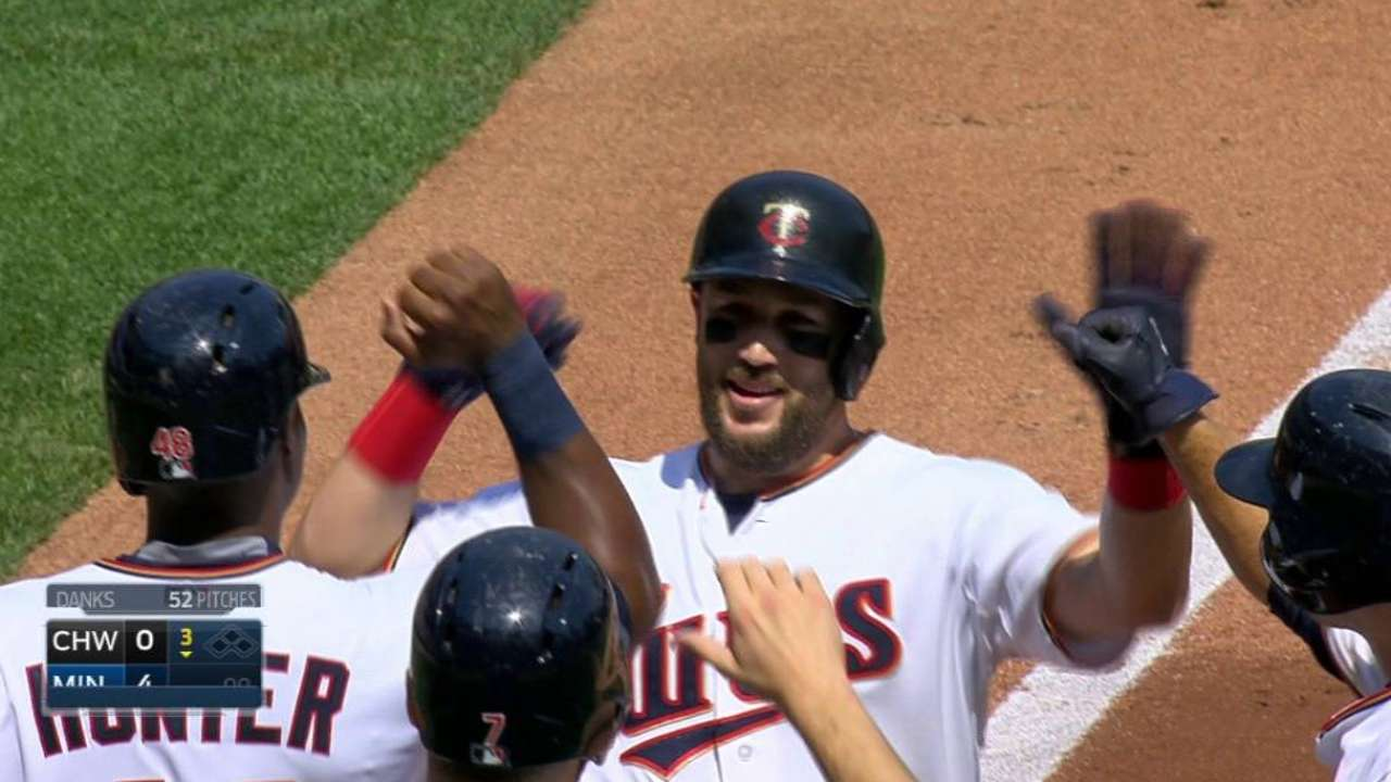 Plouffe's slam leads offensive burst to finish sweep