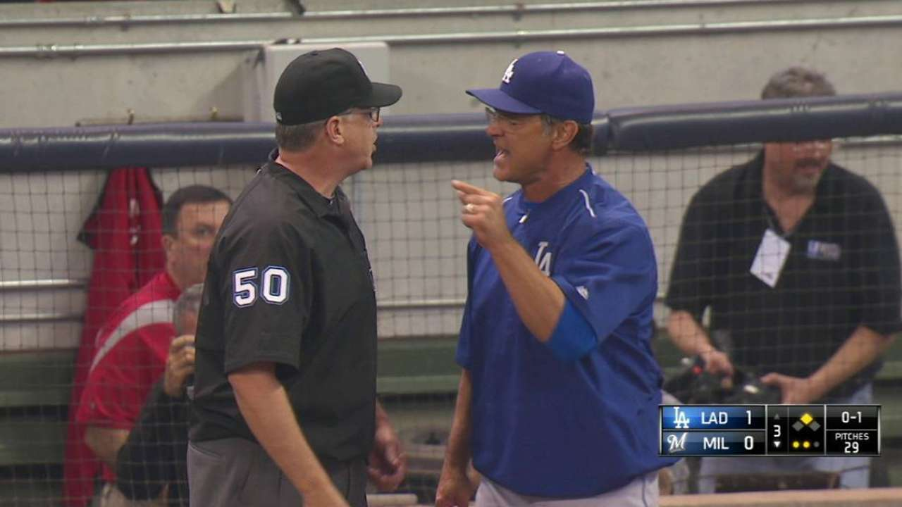 Mattingly ejected for arguing Kershaw's balk