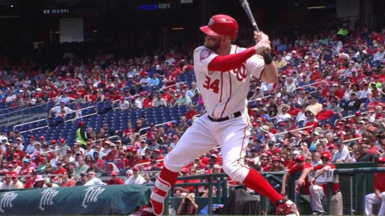 Harper hits three homers, one a 442-foot blast