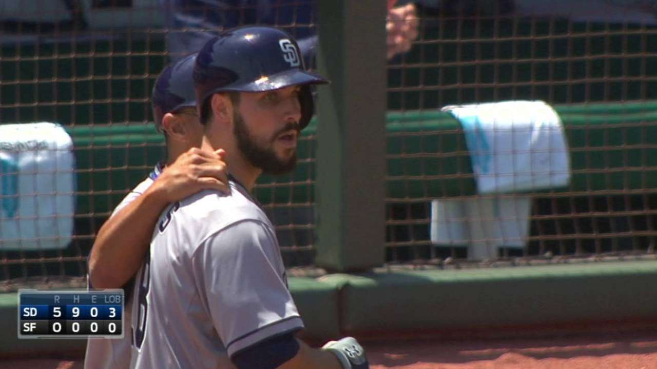 Hedges' first career hit and RBI