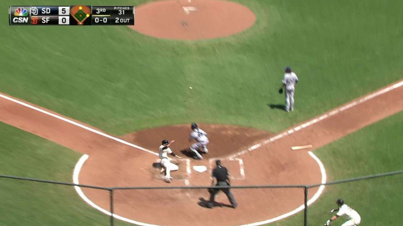 Giants' streak snapped by Padres' five-run 3rd