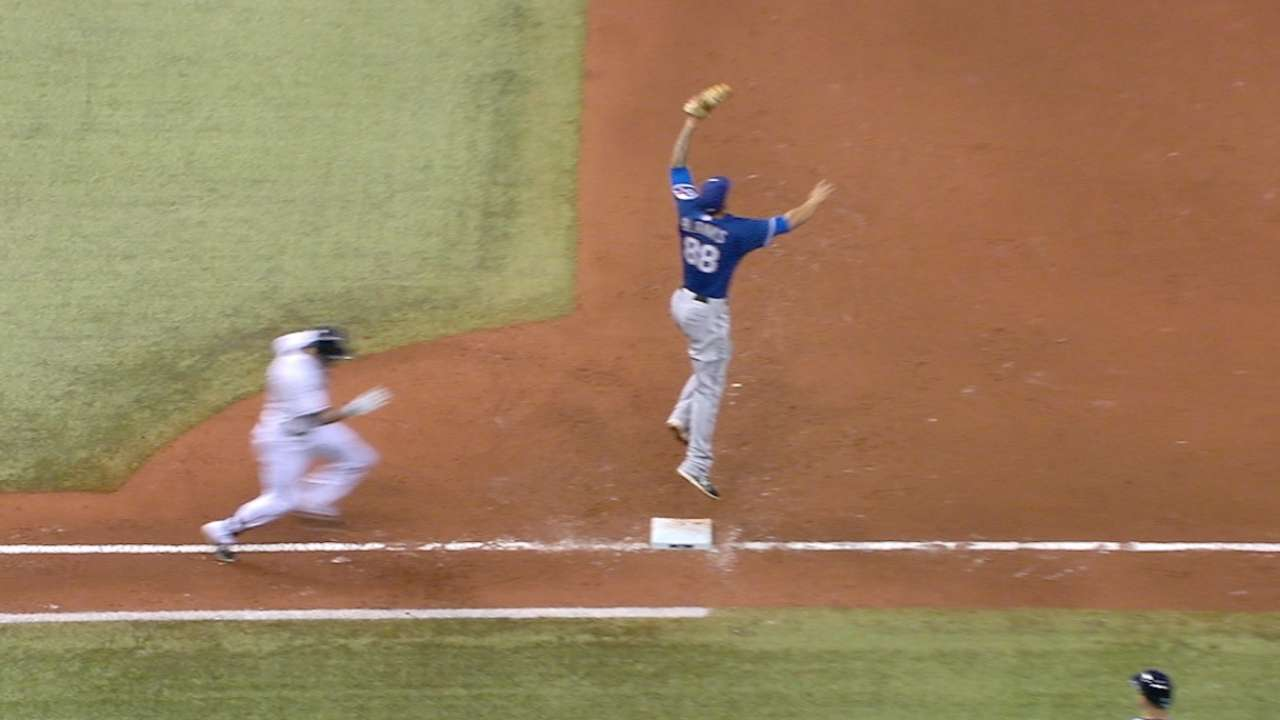 Blanks' leaping grab at first