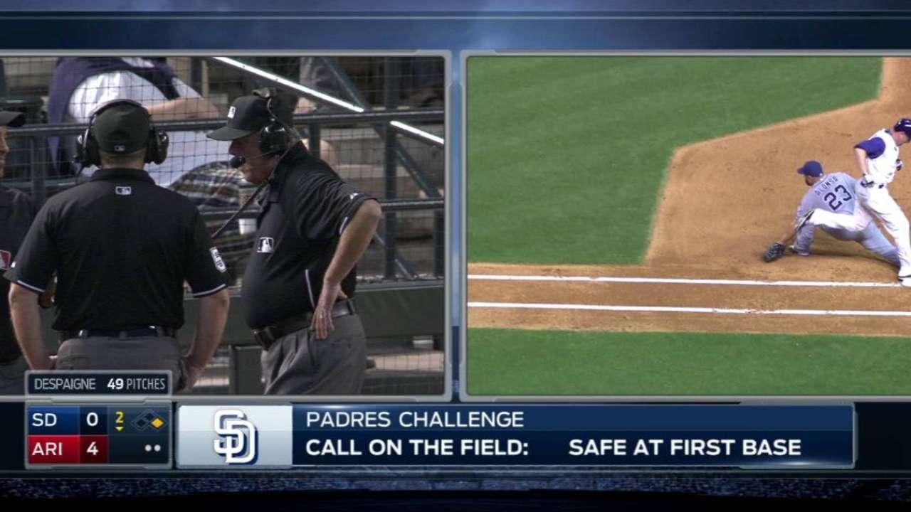 Padres win challenge, frame ends