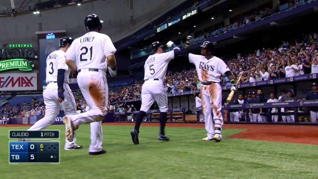 Rays snap Rangers' winning steak