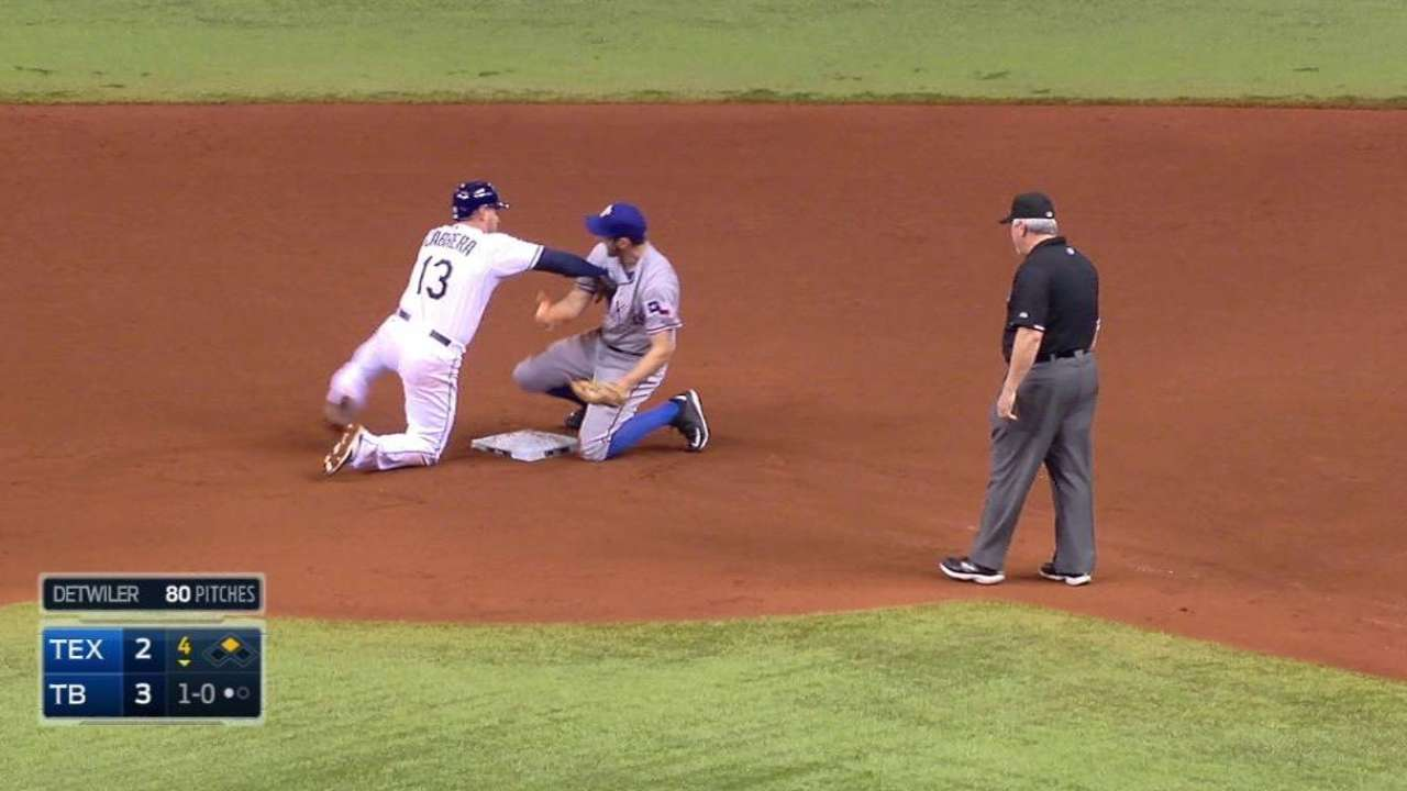 Rays', Rangers' benches clear after hard tag