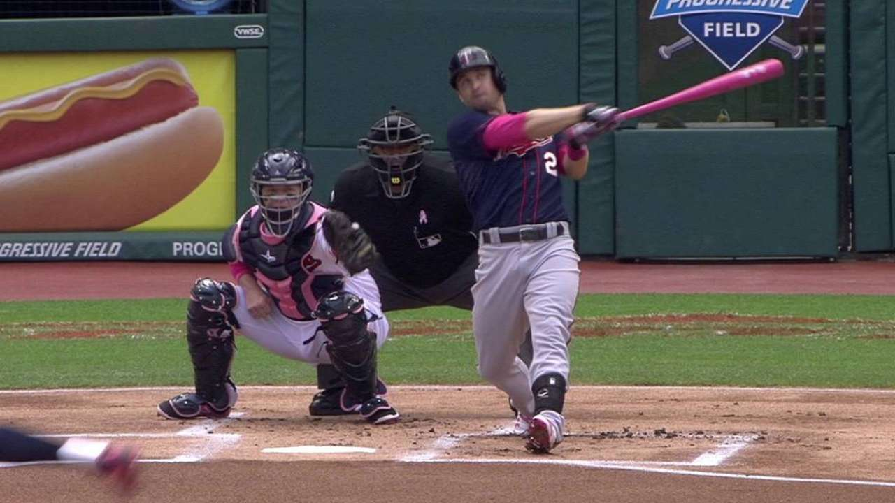 Dozier homers with pink bat