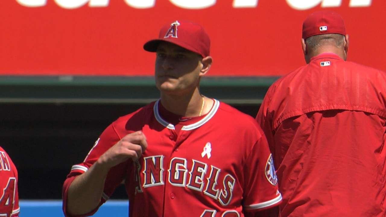 Angels one-hit Astros to earn series split