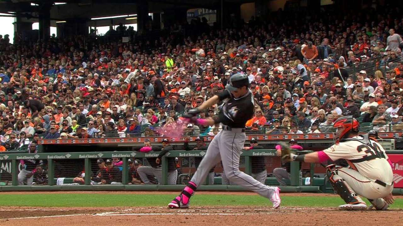 Yelich produces with pink bat, mom in stands