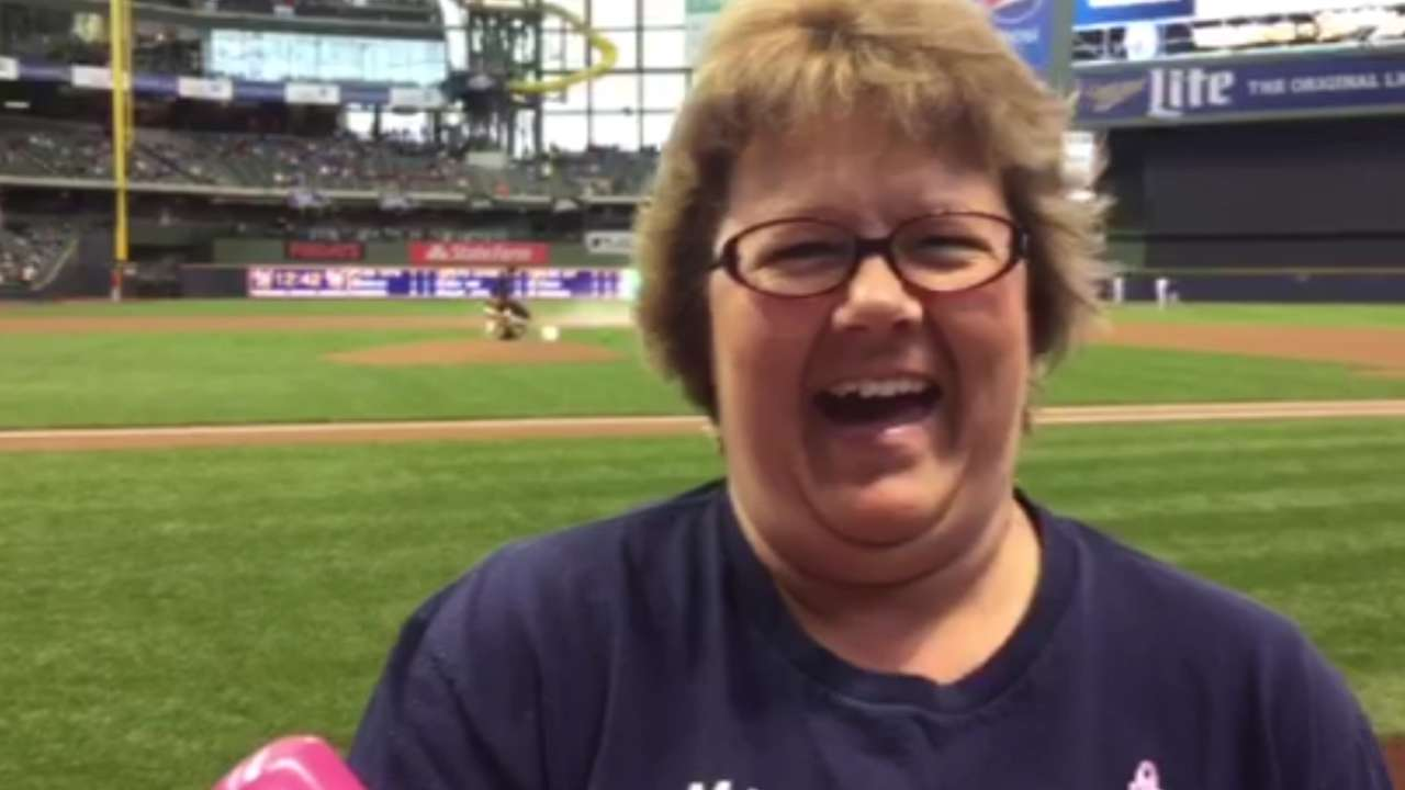 Brewers Honorary Bat Girl throws out first pitch