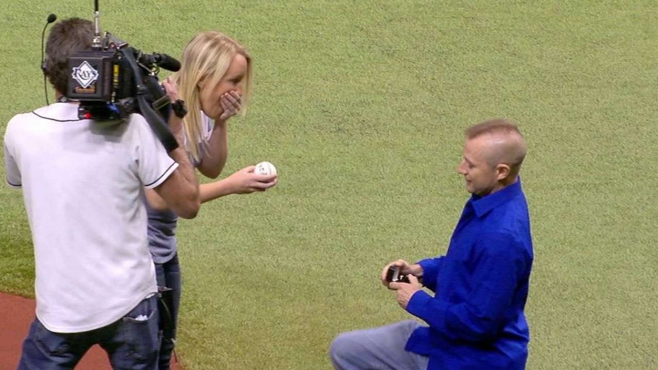 Tropicana Field site of emotional proposal