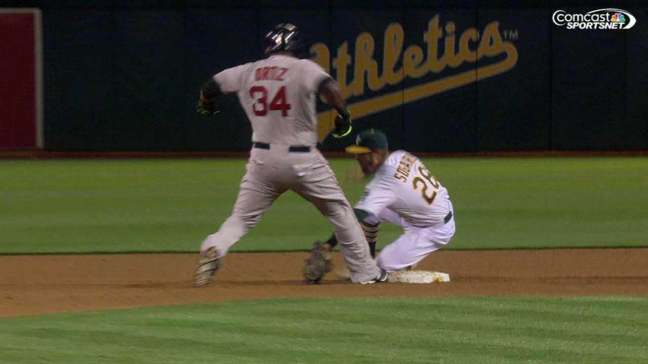 Kazmir picks off Ortiz