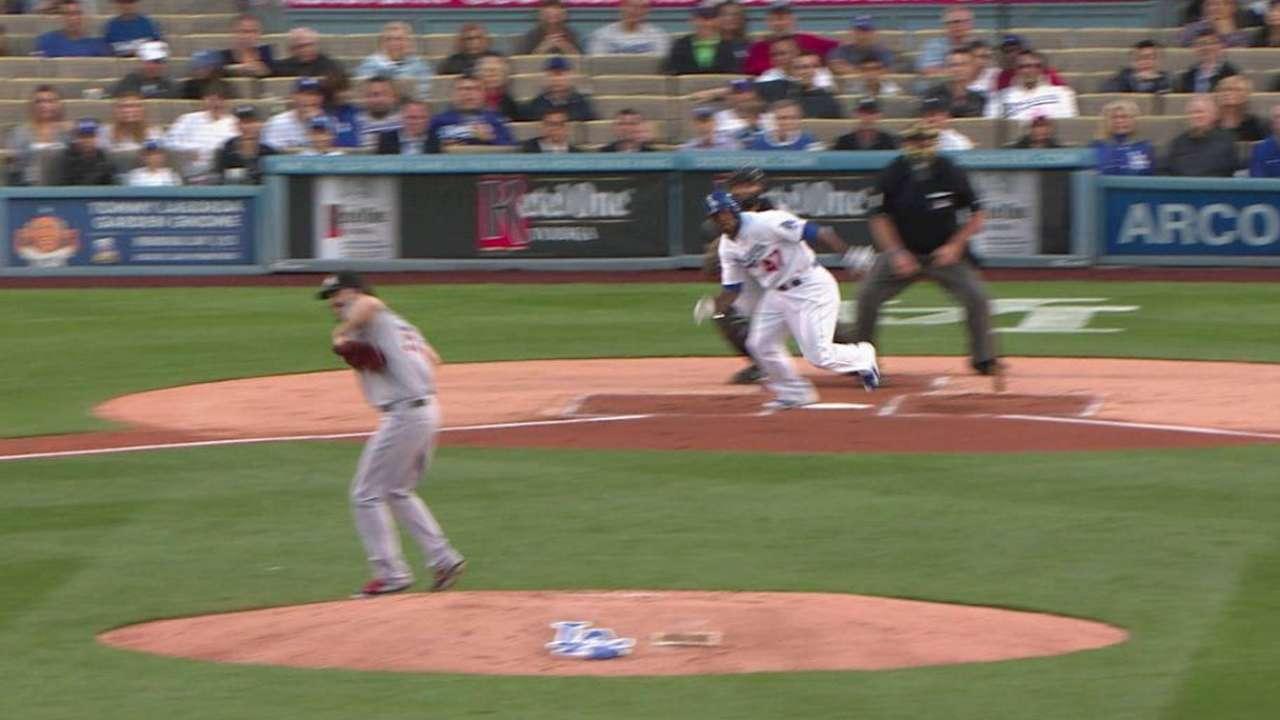 Haren can't dodge comebacker, LA bats