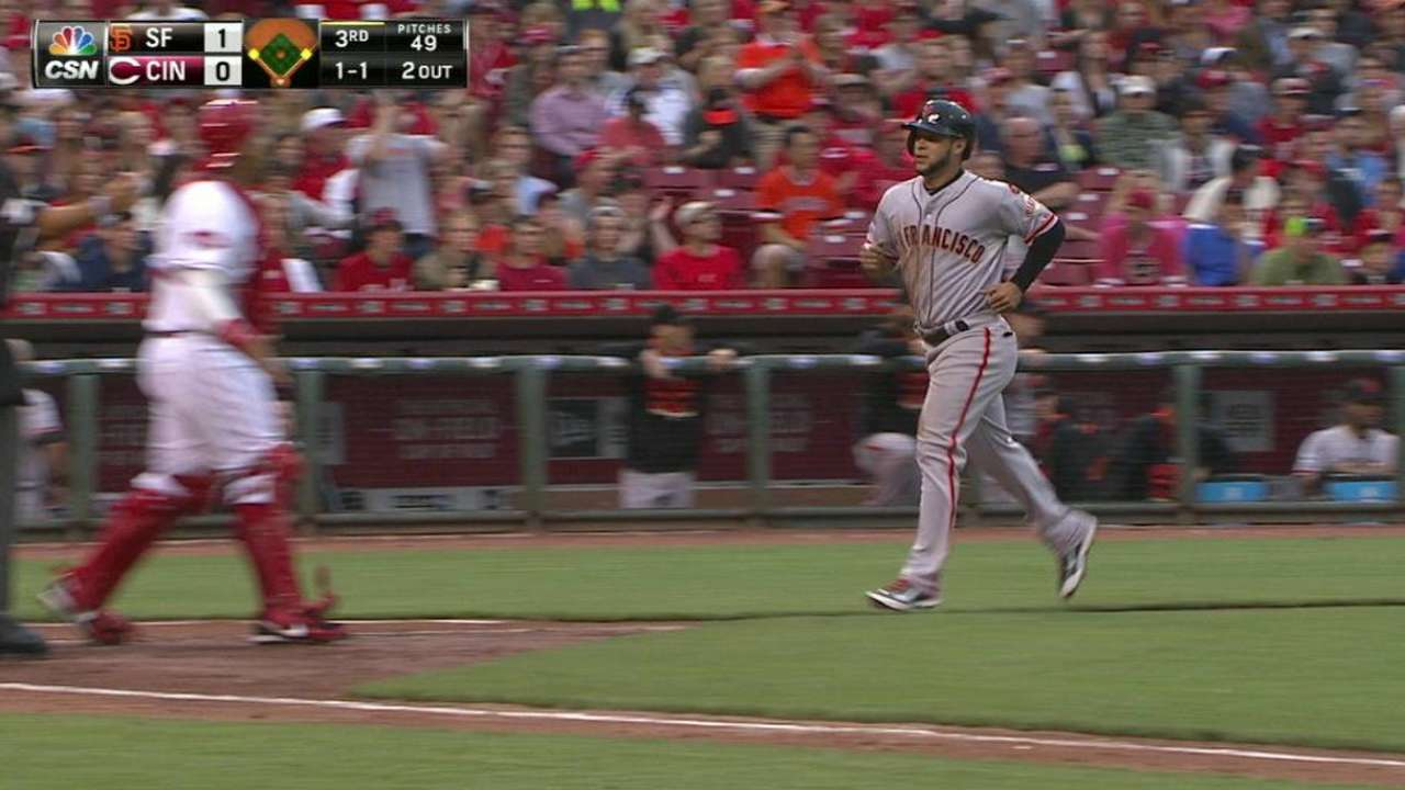 Giants score on balk