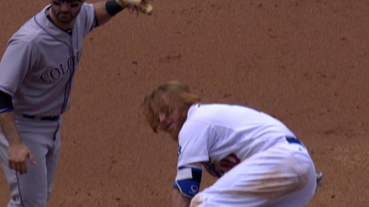 Dodgers challenge out at second