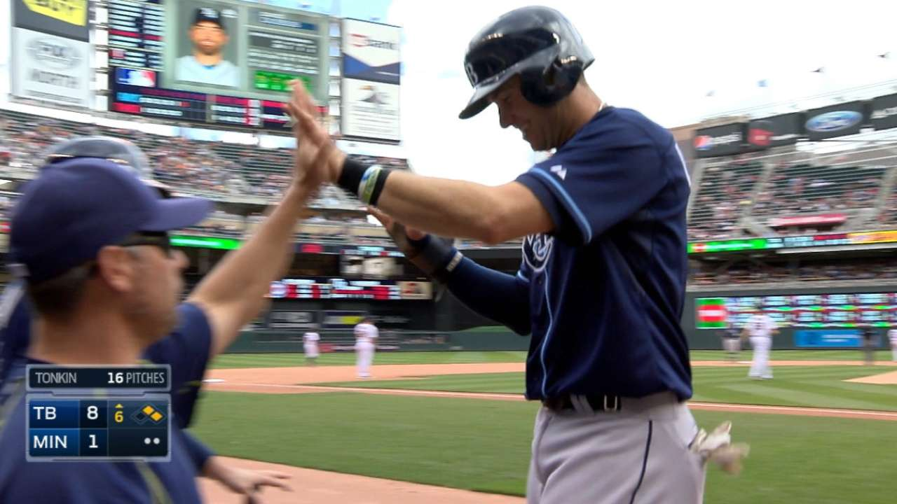 Longo leads 19-hit barrage as Rays clobber Twins