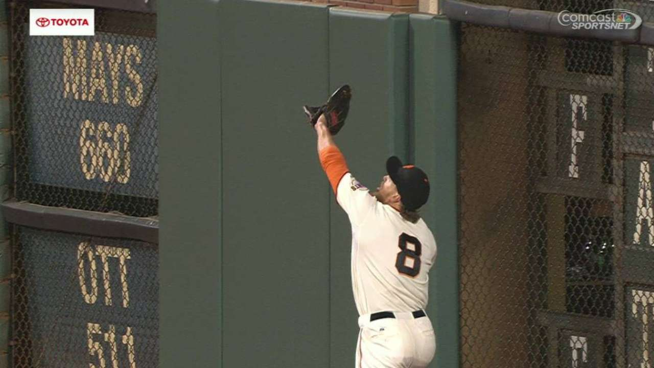 Pence's catch near the wall