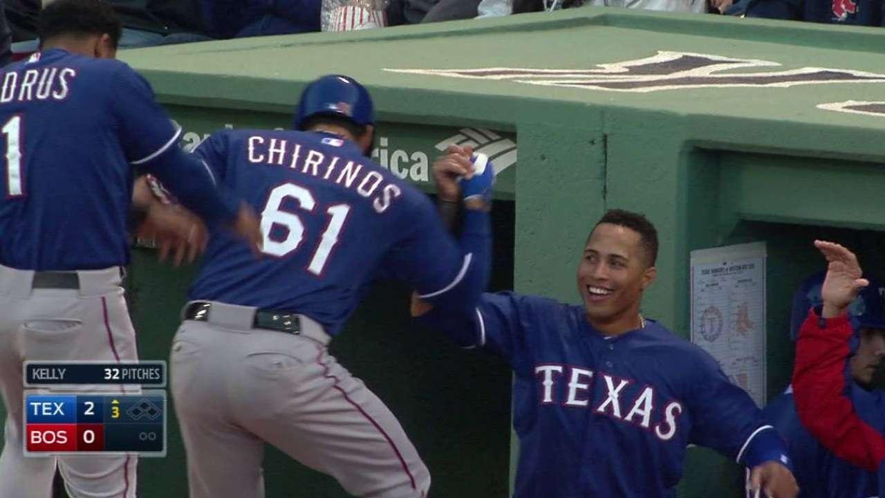 HR de Chirinos clave en triunfo de Texas vs. Boston