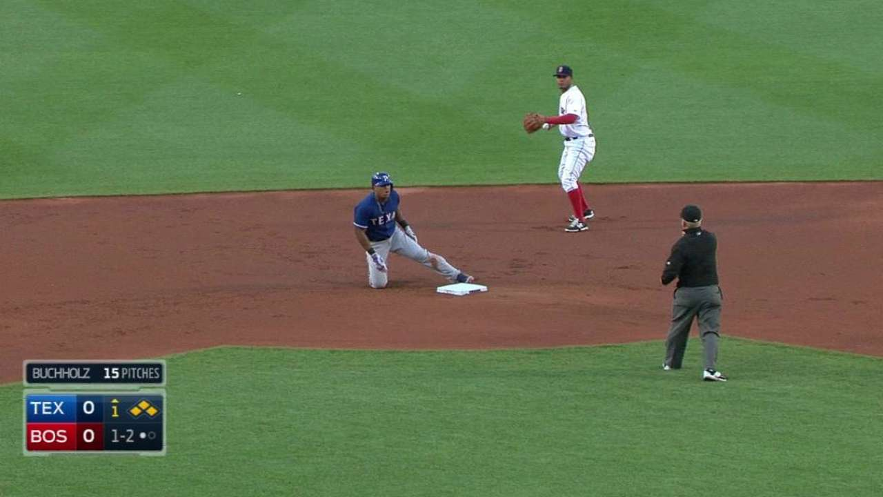 DeShields uses speed to manufacture run