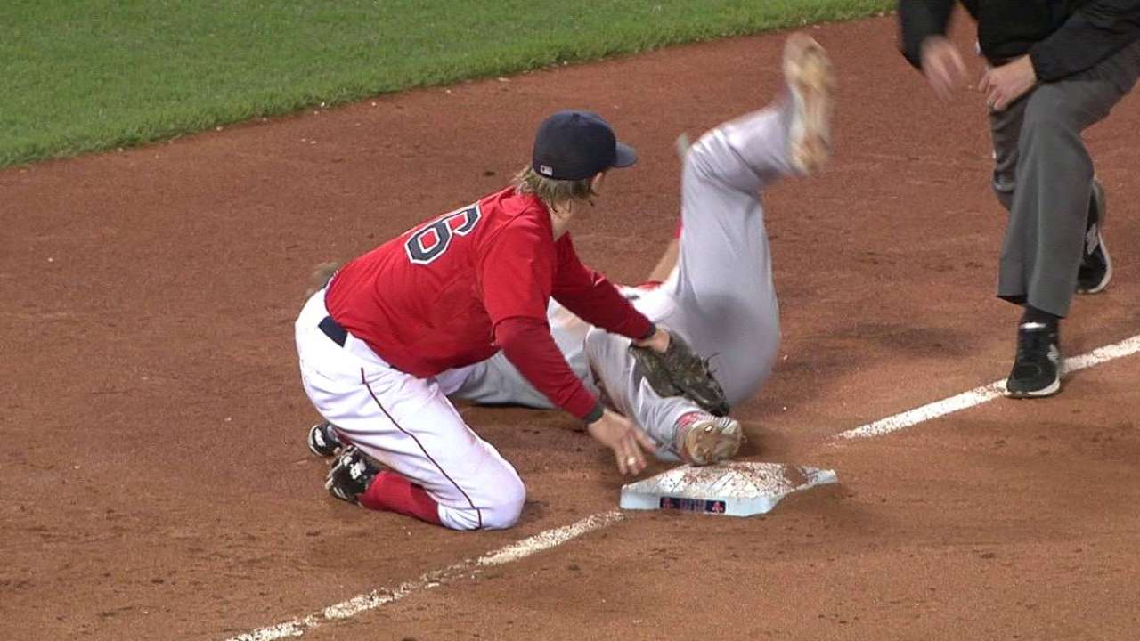 Trout slides safely into third