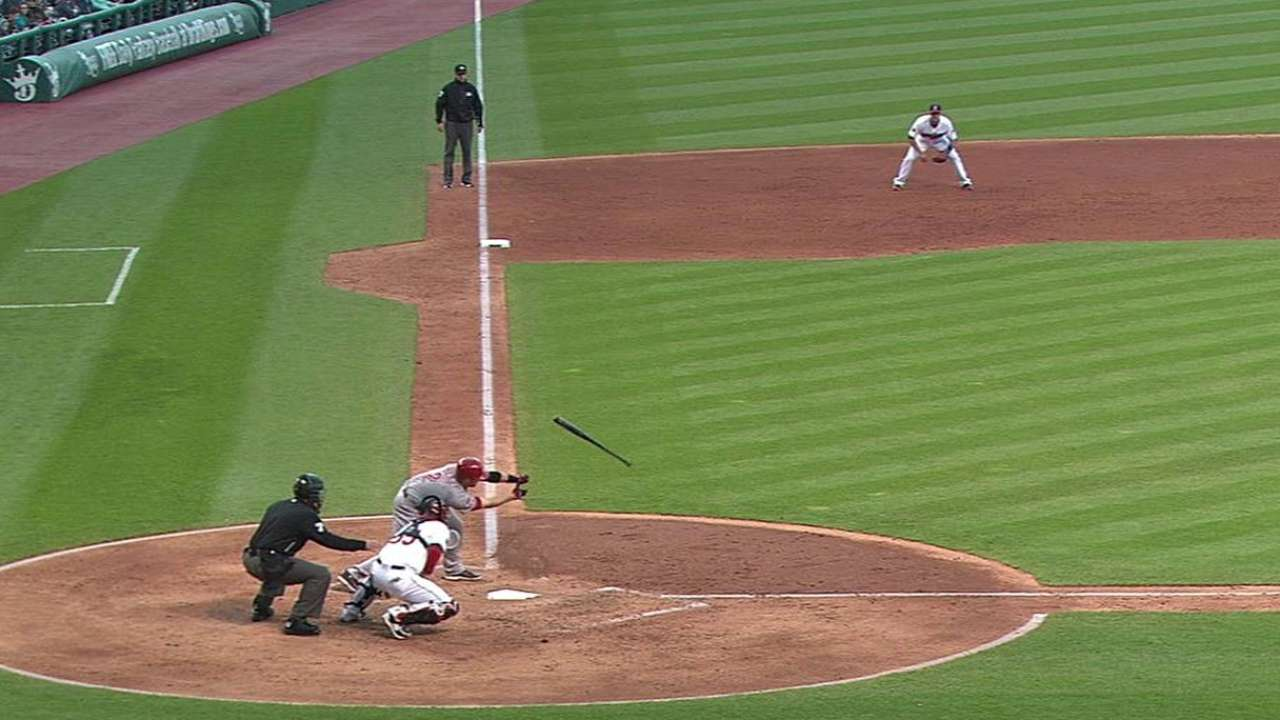 Cozart loses bat after strikeout