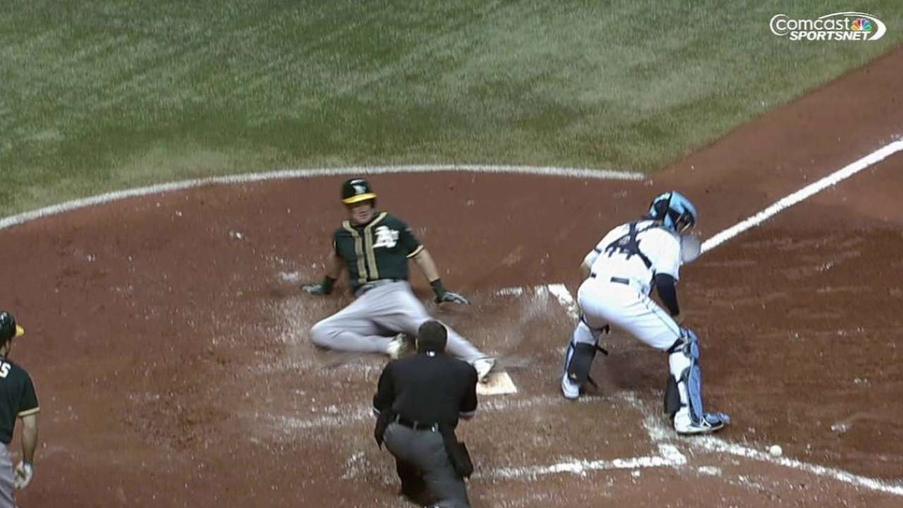 Four-run 6th drives A's to win over Rays