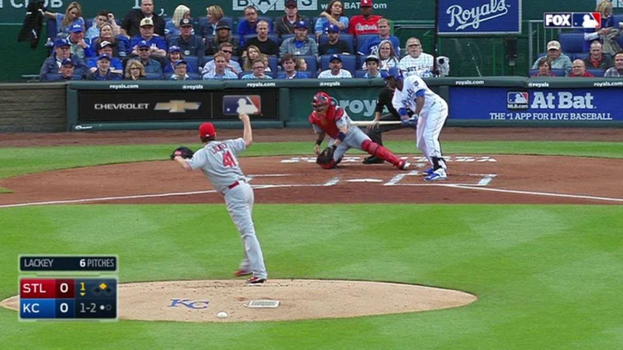 Lackey strikes out Cain