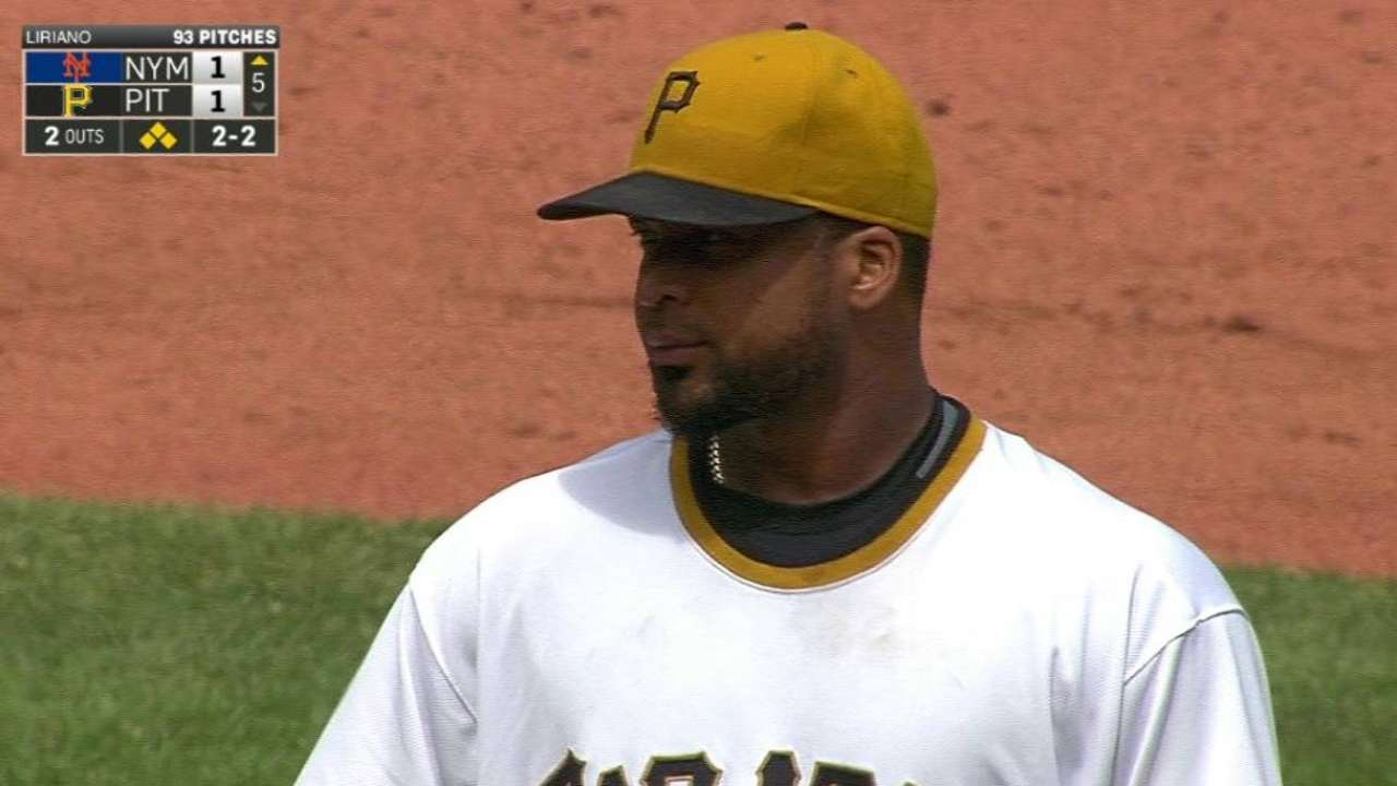 Liriano strikes out Mayberry Jr.