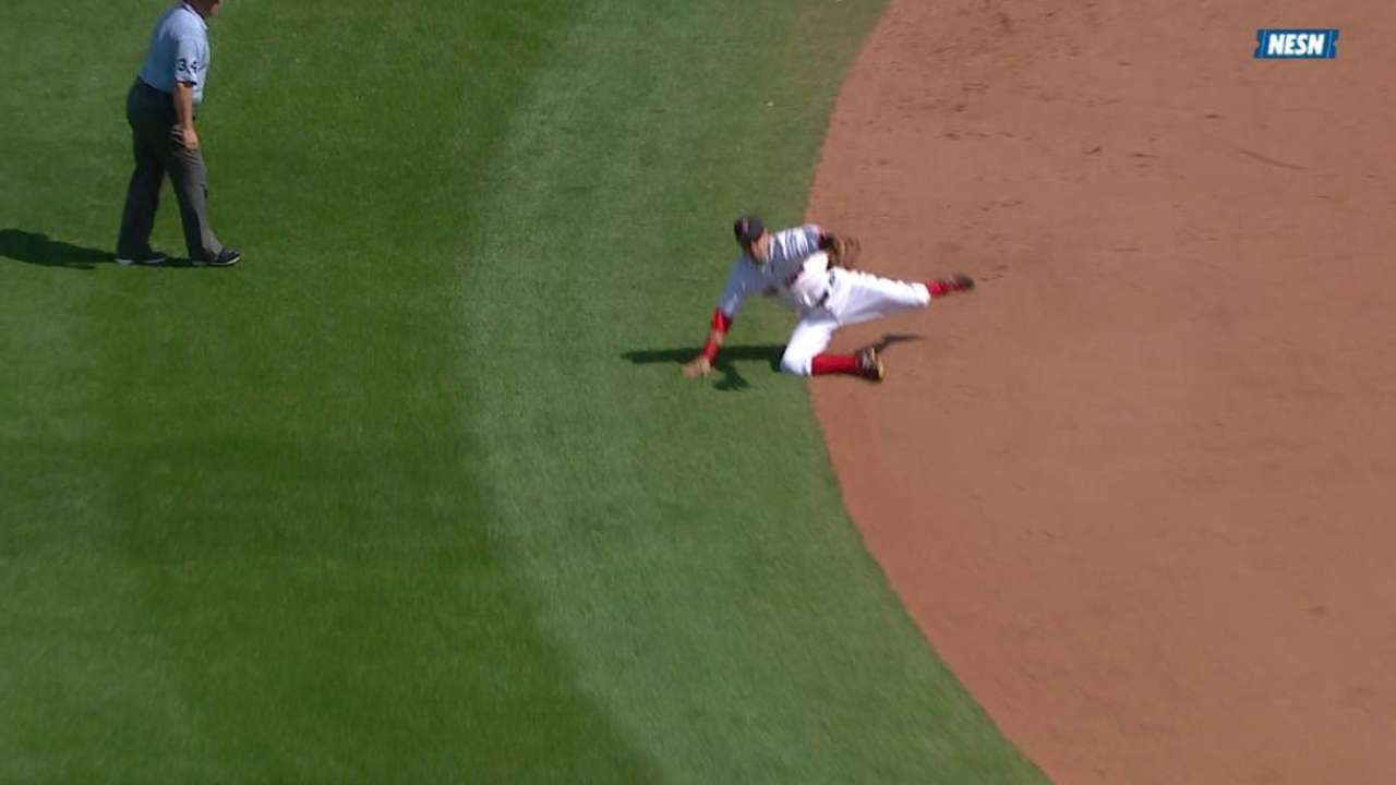 Pedroia, Holt make eye-popping plays