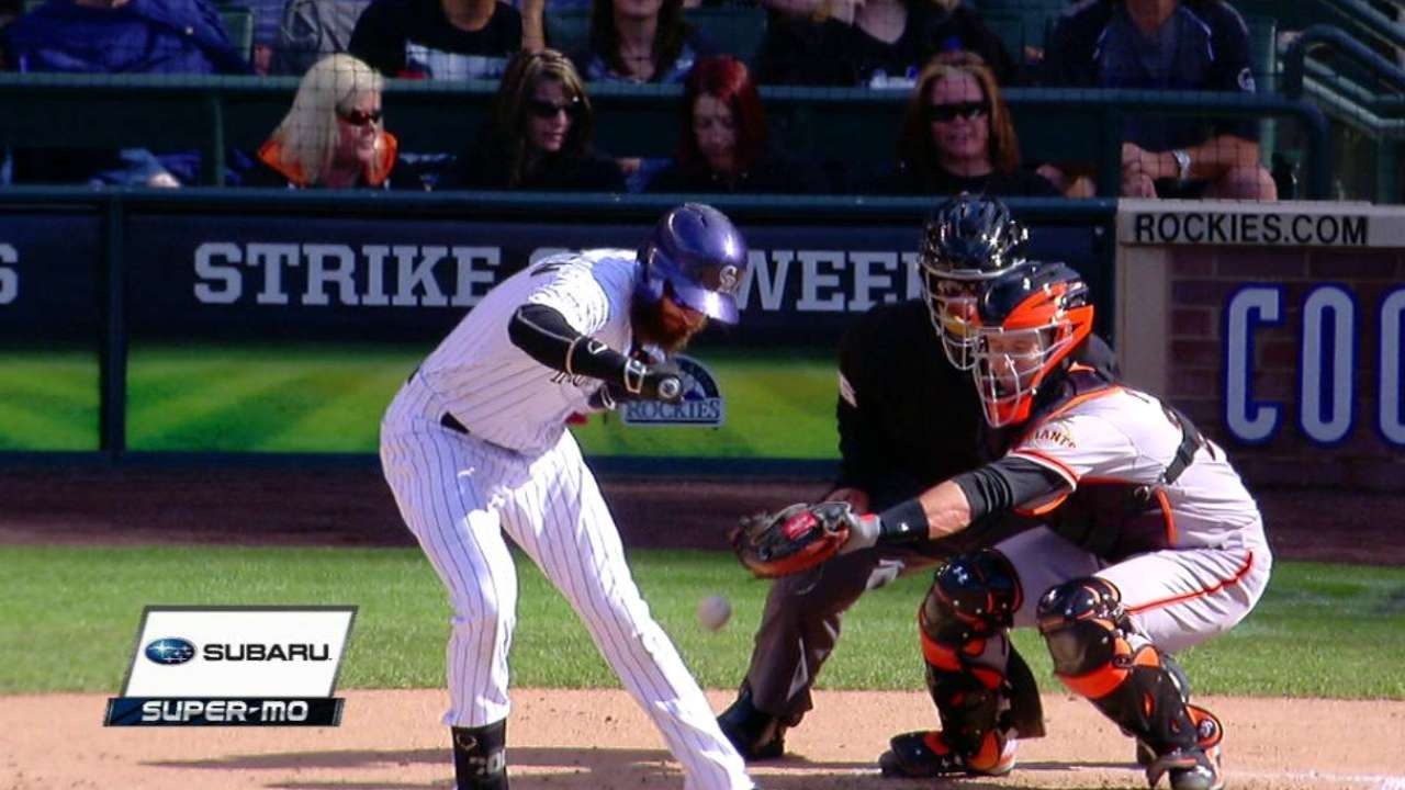 Blackmon is hit by a pitch