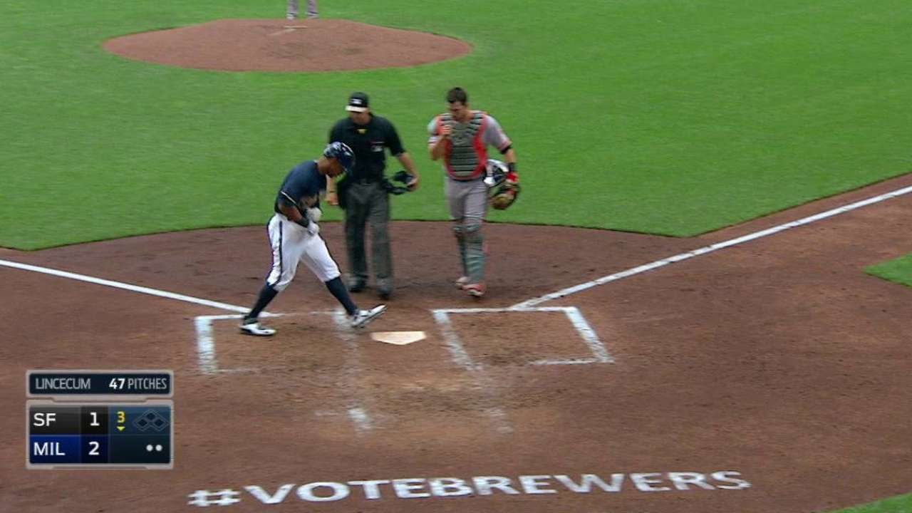 Brewers' 3 homers negated by Giants' big 6th