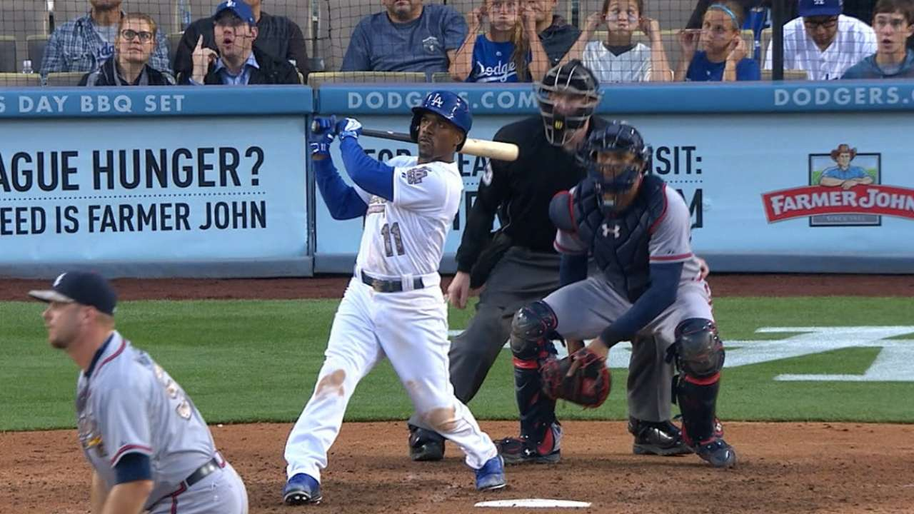 Dodgers' three homers in eighth down Braves