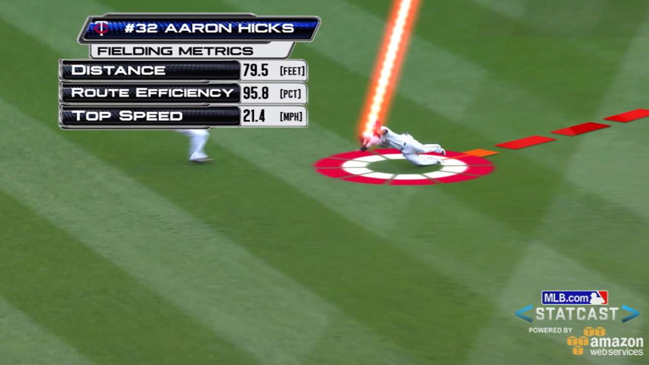 Statcast: Hicks' diving grab