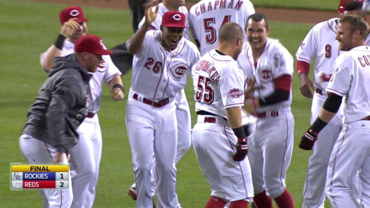 Reds walk off on Rox to end extended skid
