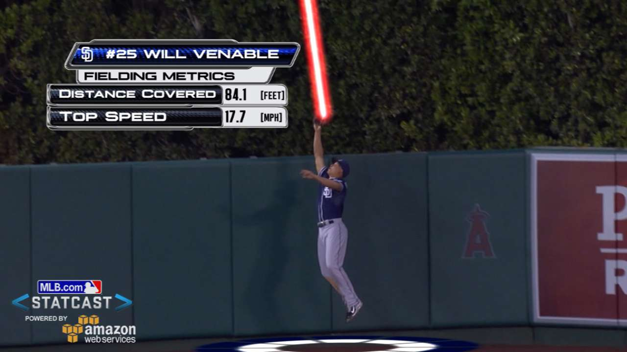 Venable robs Trout's homer with sensational grab