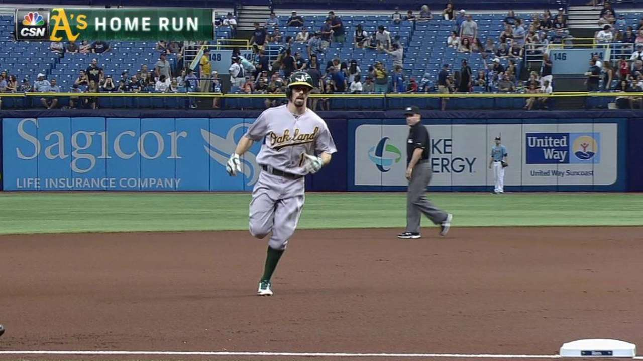 Burns' first career homer