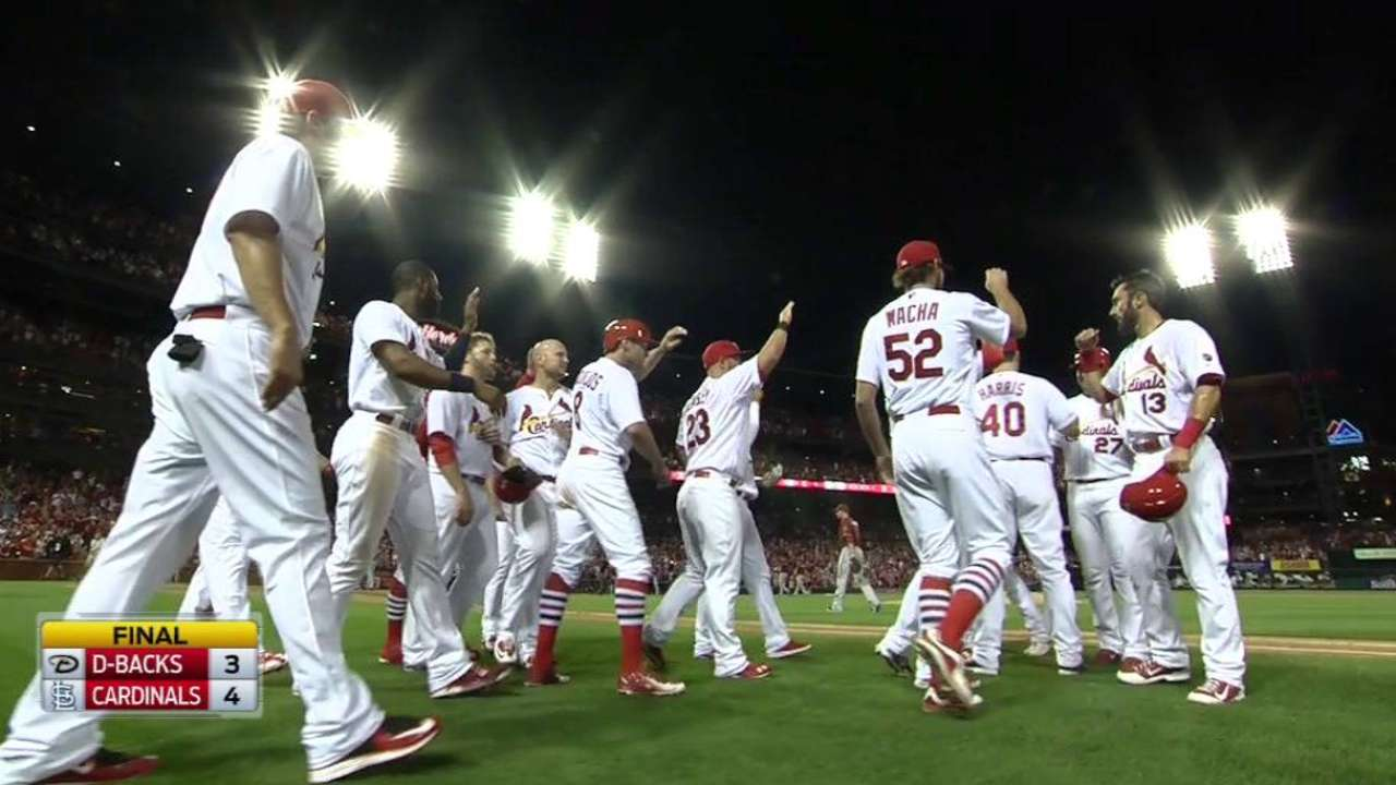 Cards walk off in ninth for sweep of D-backs