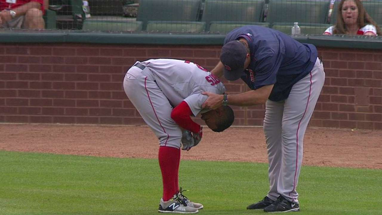 Bogaerts exits with bruised left forearm after HBP