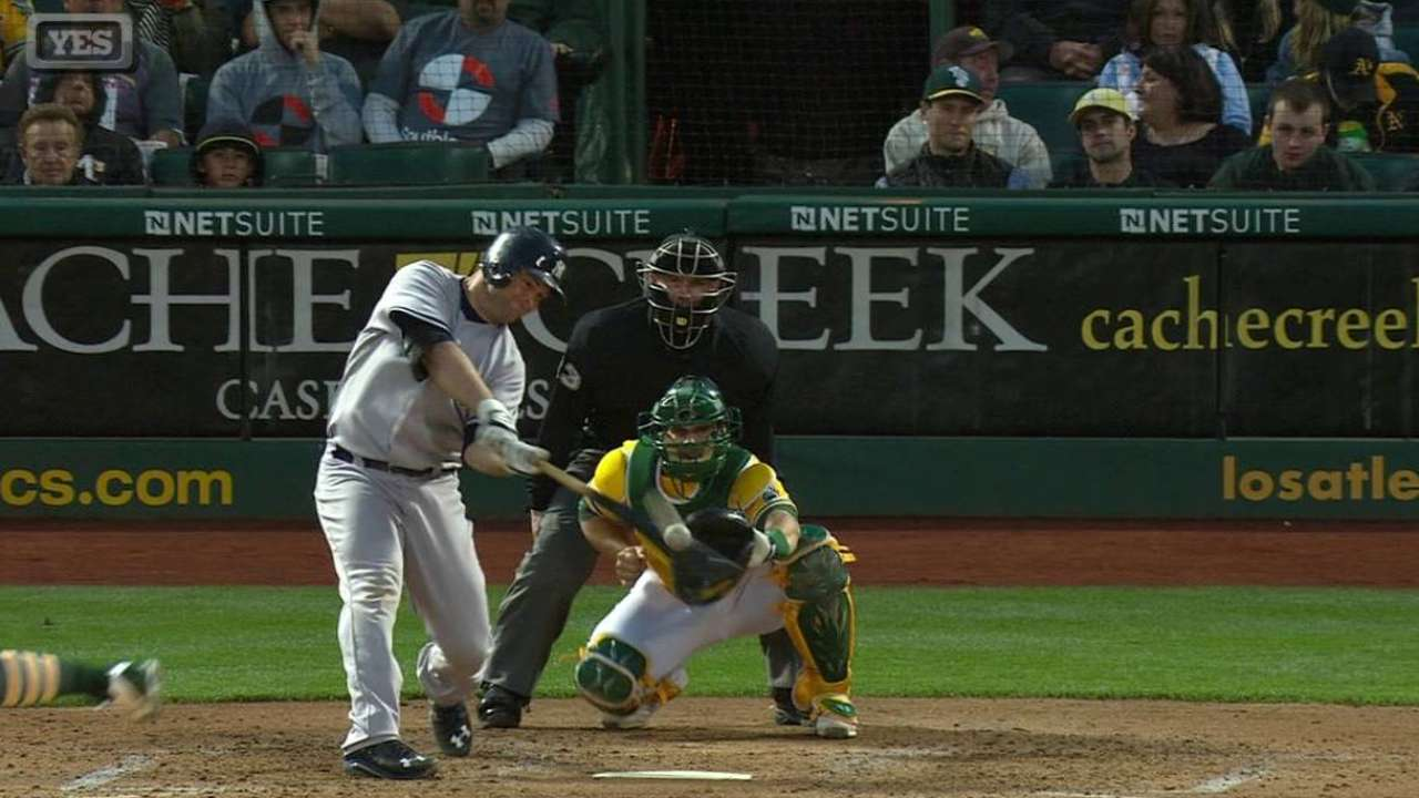 McCann homers again, but Yanks fall to A's