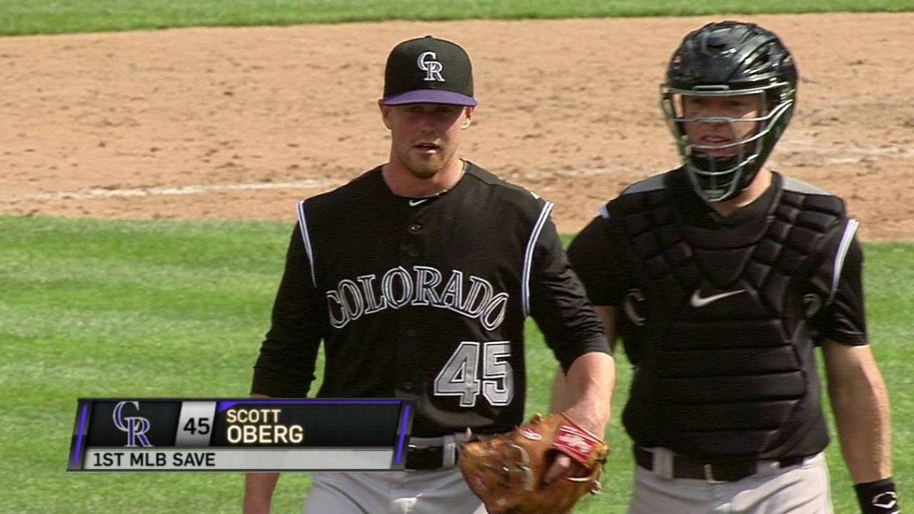 Oberg notches first MLB save