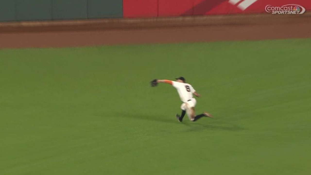 Pence's run-saving catch
