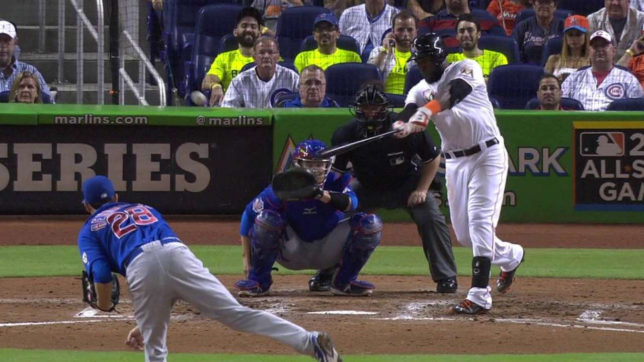 Marlins use clutch hits, Hand to topple Cubs