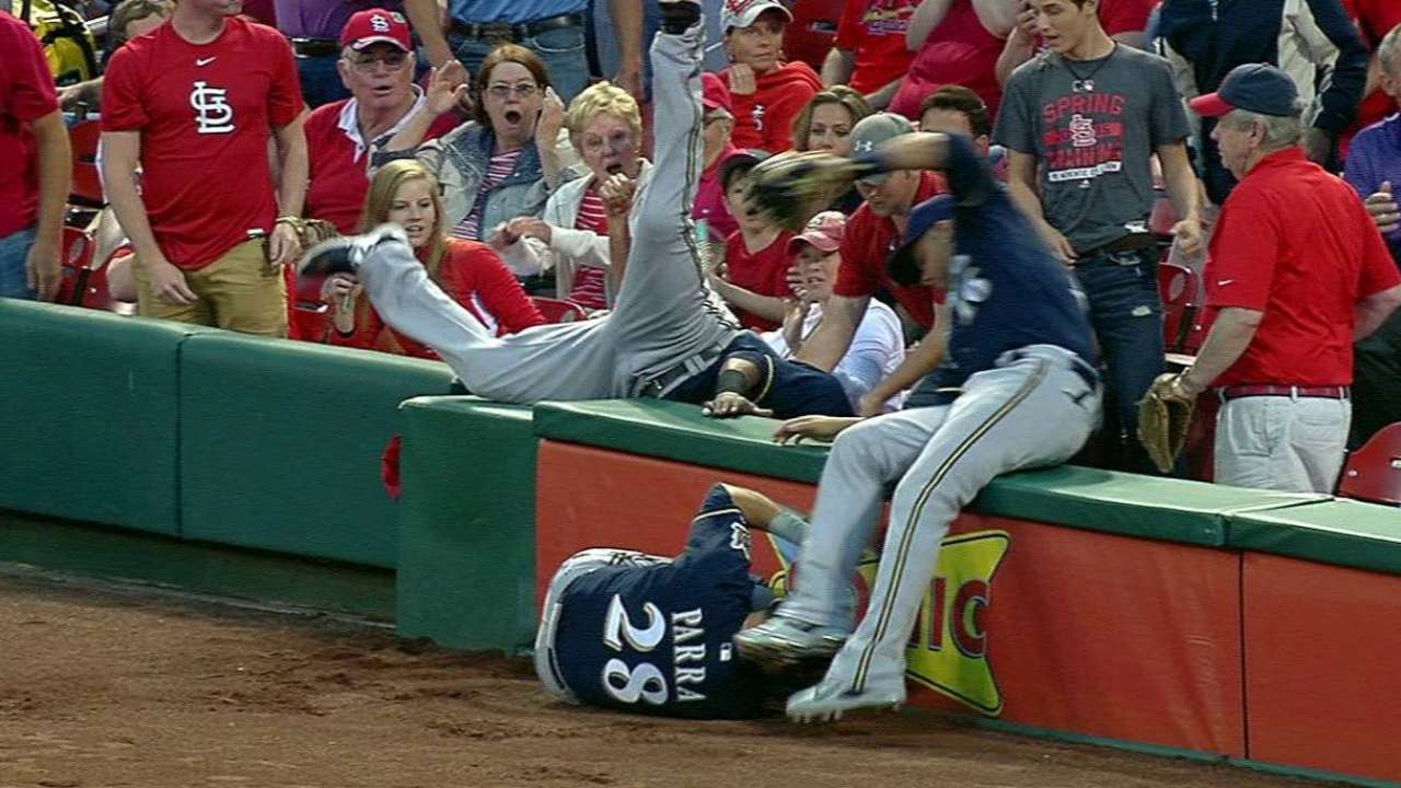 Brewers collide in foul ground