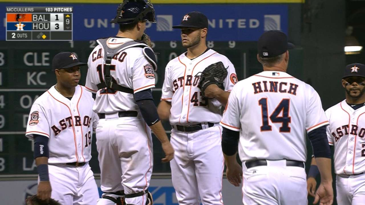 Hinch keeps McCullers in game