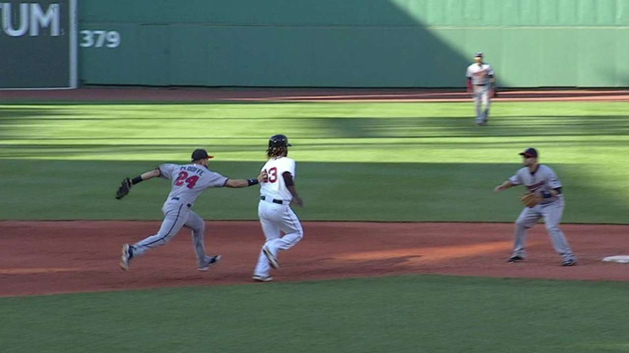 Plouffe tags out Hanley
